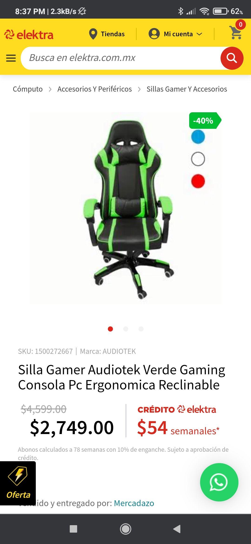 Elektra: Silla Gamer Audiotek Verde Gaming Consola Pc Ergonómica Reclinable