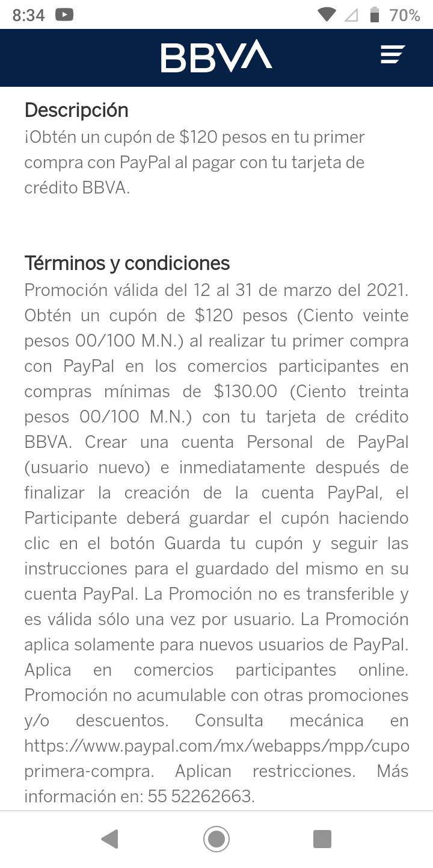 BBVA y Paypal cupón de 120$ al crear cuenta (A partir del 12 de marzo 2021)