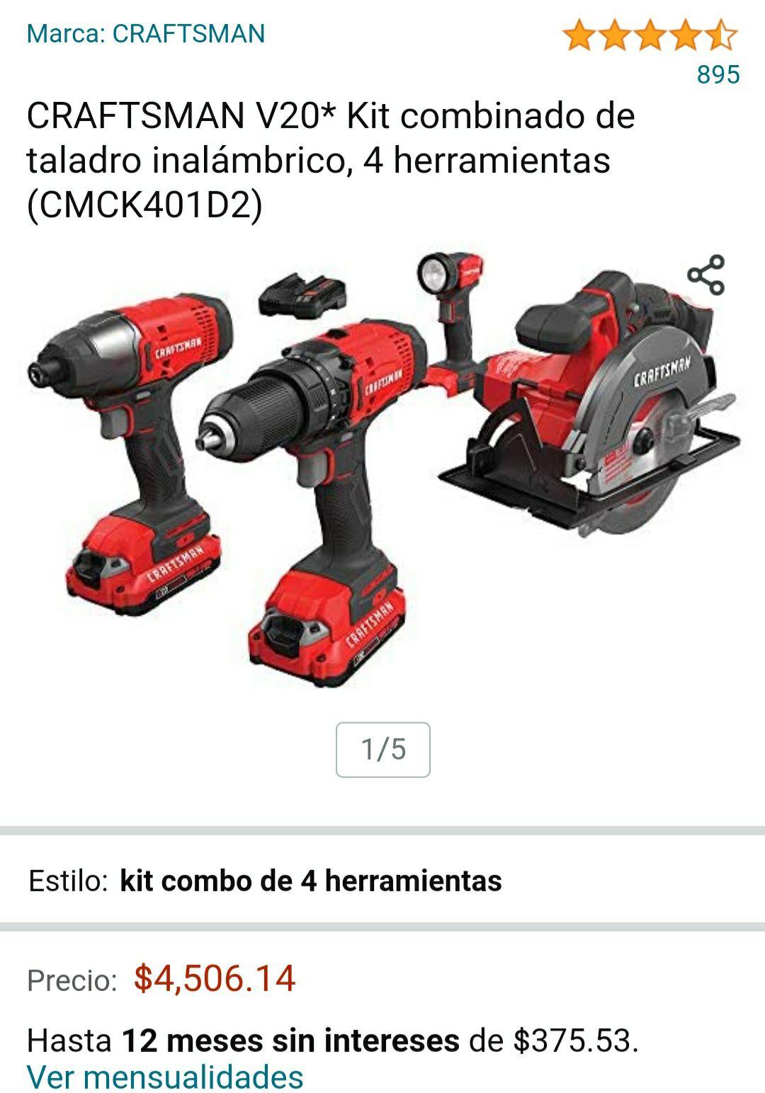 Amazon: CRAFTSMAN V20* Kit combinado de taladro inalámbrico, 4 herramientas (CMCK401D2)