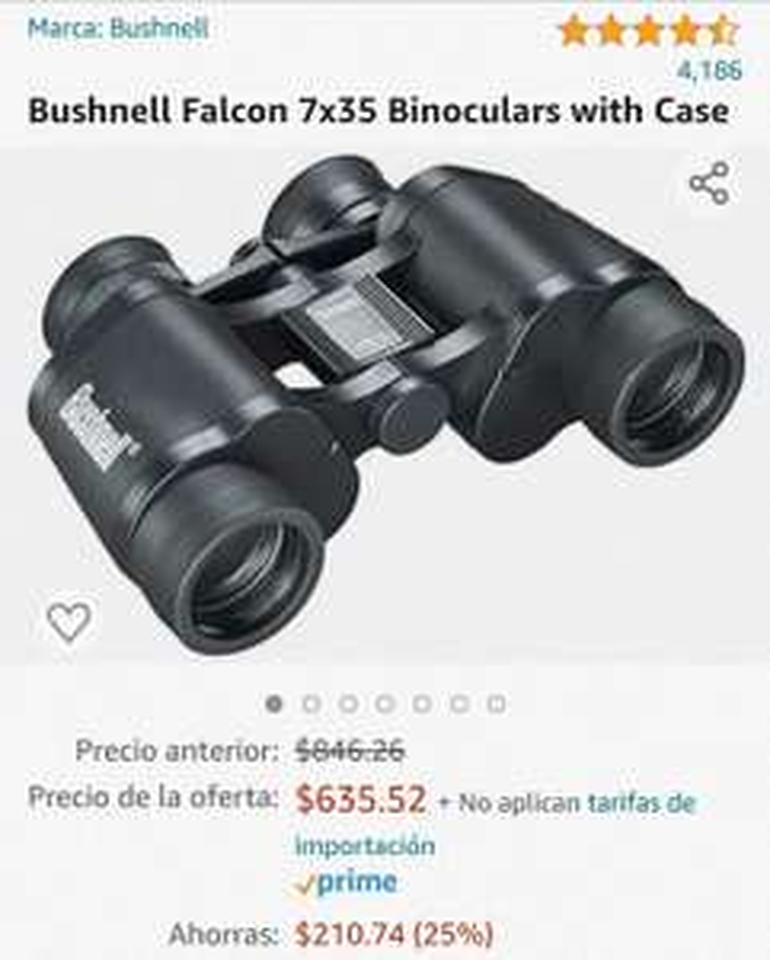 Amazon: Binoculares Bushnell Falcon 7x35