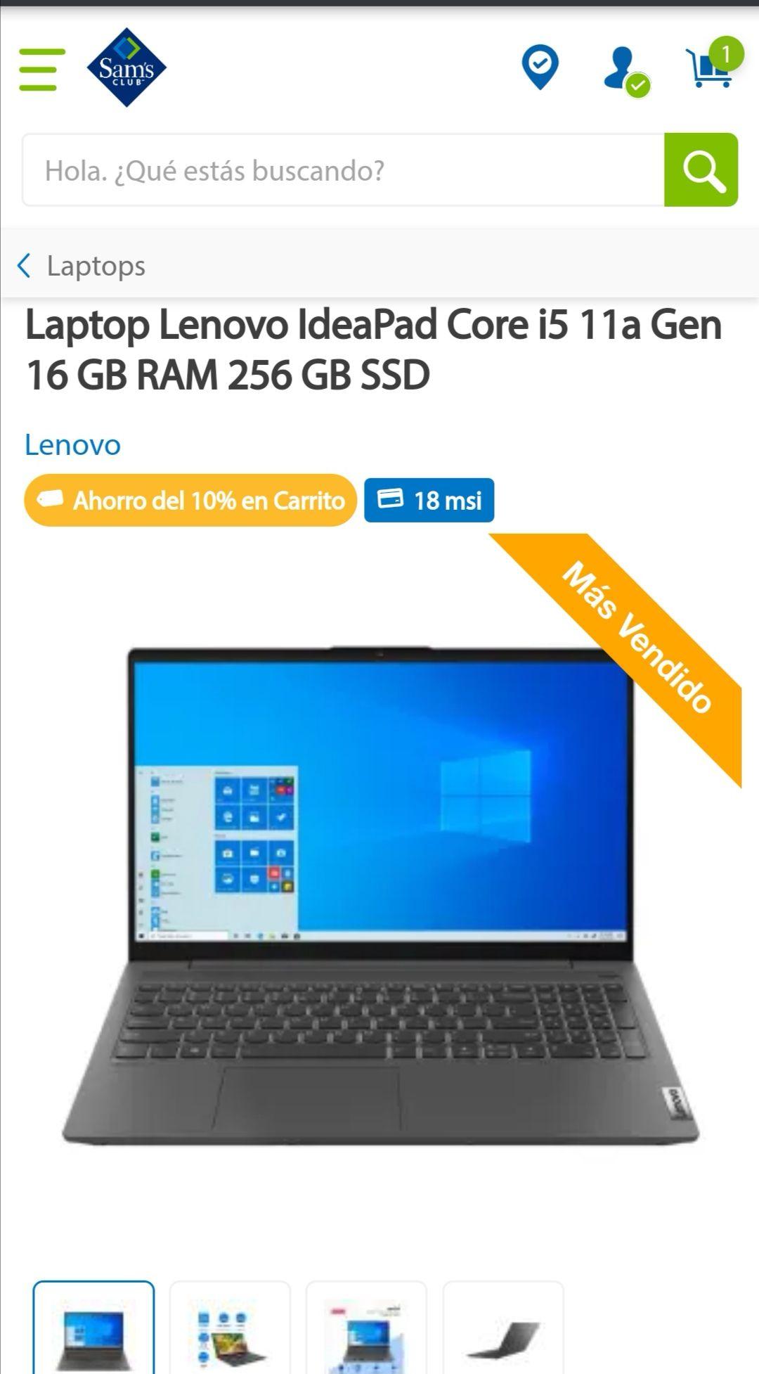 Sam's Club: Lenovo IdeaPad Core i5 11a Gen 16 GB RAM 256 GB SSD con dedicada NVIDA GE Force MX450