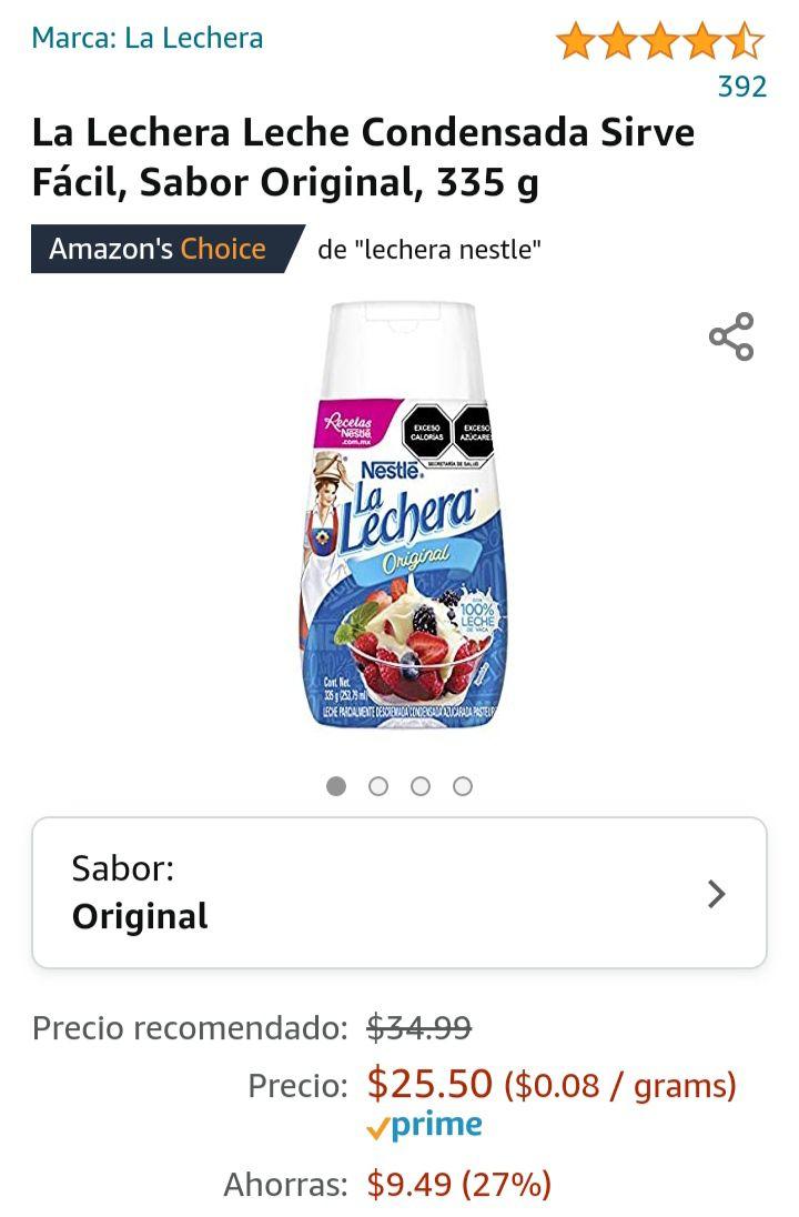 Amazon: Lechera Nestlé 335 g
