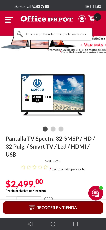 """Office Depot: Smart TV 32"""" en menos de 3000"""