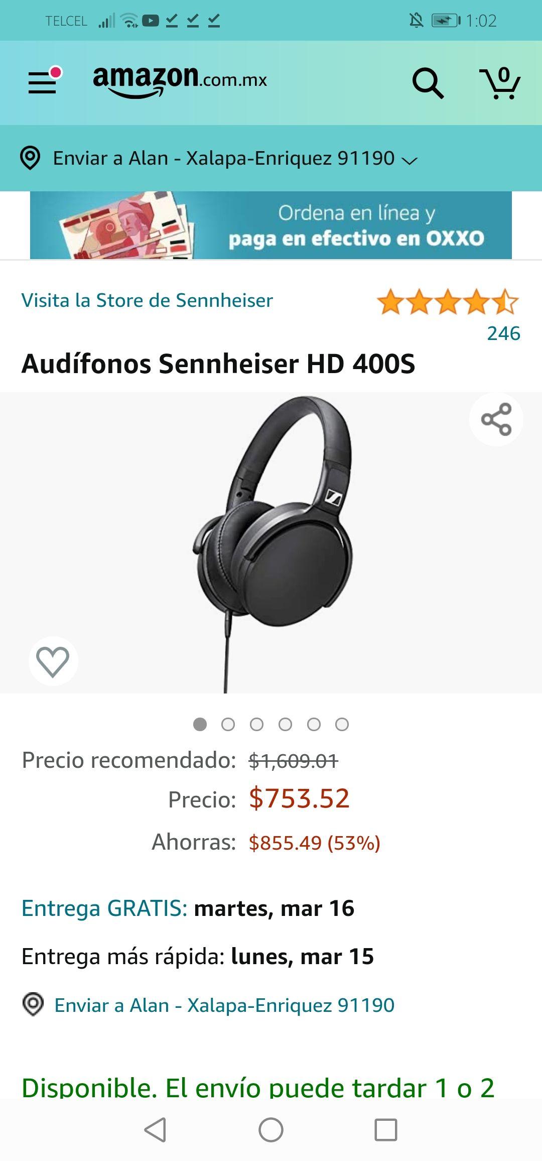 Amazon: Audífonos Sennheiser HD 400S