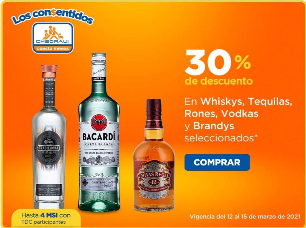 Chedraui: 30% de descuento en whiskys, tequilas, rones, vodkas y brandys seleccionados