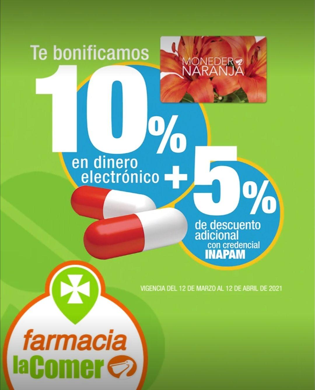 La Comer: 10% de bonificación en dinero electrónico en Monedero Naranja en toda la farmacia + 5% descuento con INAPAM