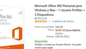 Amazon: Office 365 Personal para Windows y Mac - 1 Usuario Pc/Mac + 3 Dispositivos