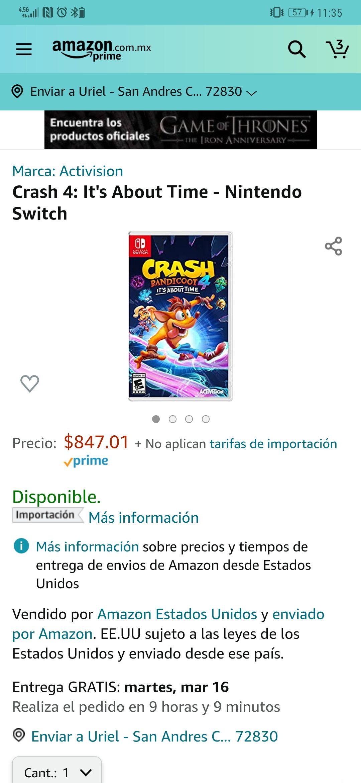 Amazon: Crash bandicoot 4 Nintendo switch