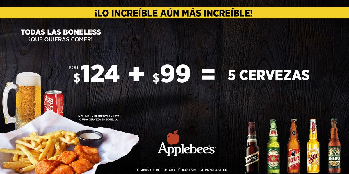 Applebee's: Boneless ilimitadas a $124, + 5 cervezas por $99