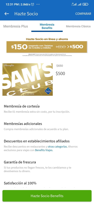 Sam's Club: Descuento de $150 al hacerte socio Benefits hoy