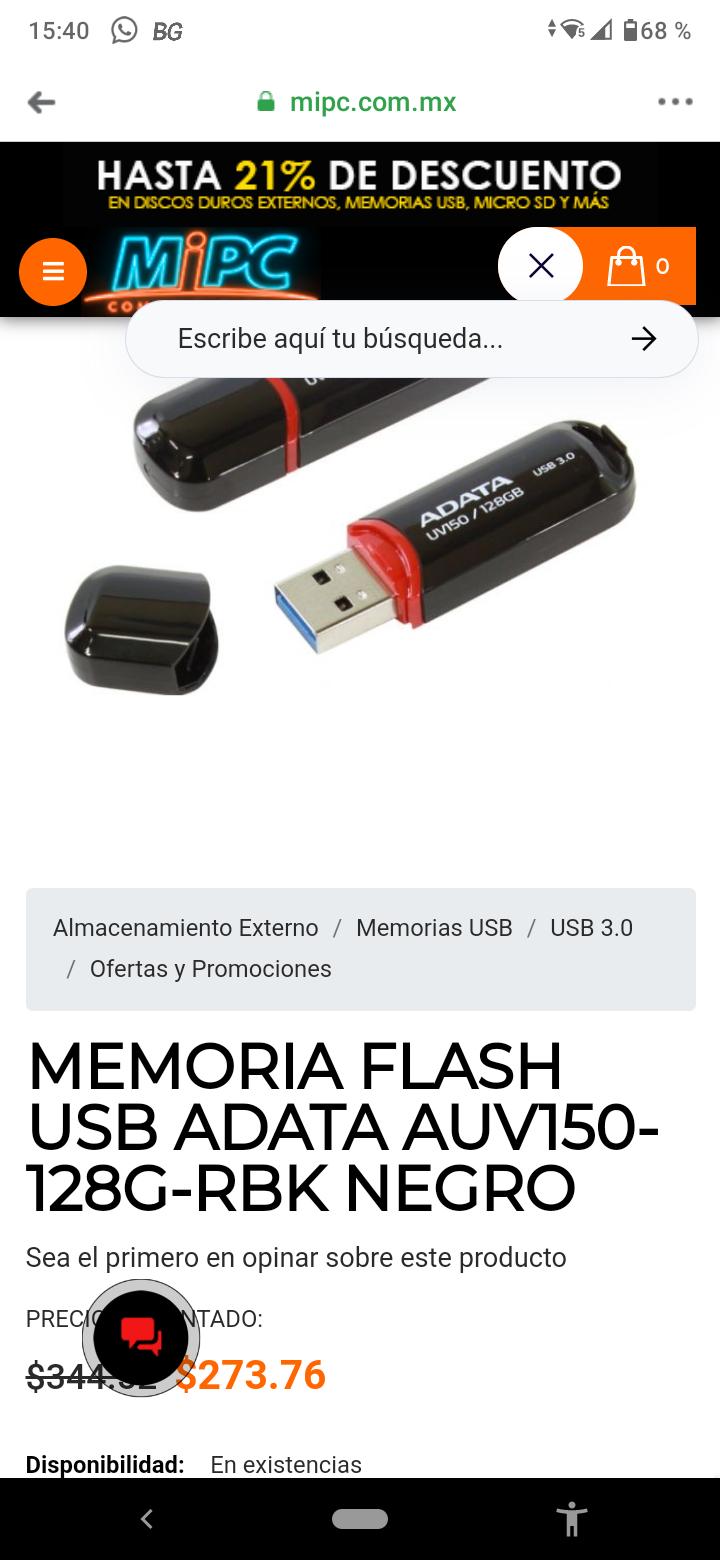 Mi PC, Memoria Flash usb Adata 128 gb 3.0