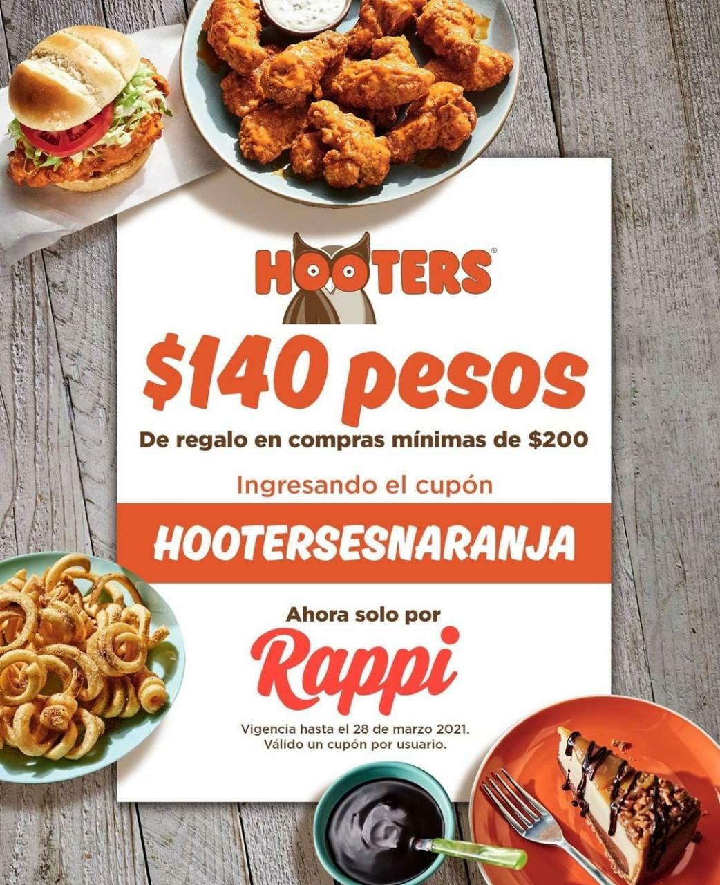 Rappi: Hooters, 140 pesos de regalo