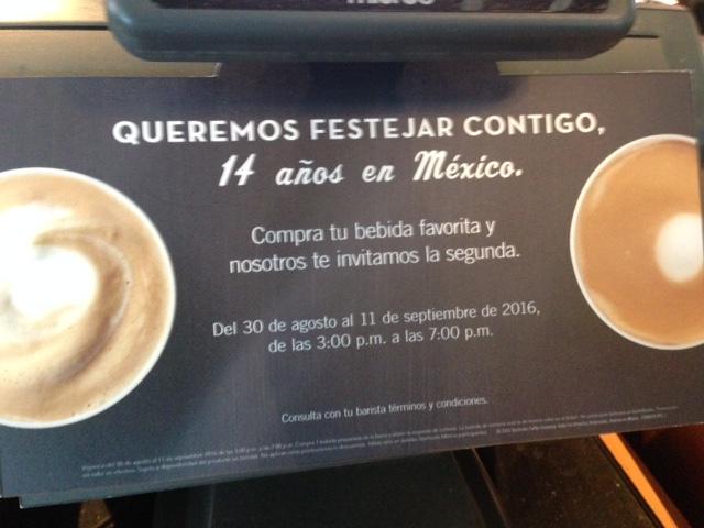 Starbucks: Happy Hour por Aniversario 2x1 en tu bebida favorita de 3-7pm o 12:00 al cierre para Staburcks Rewards