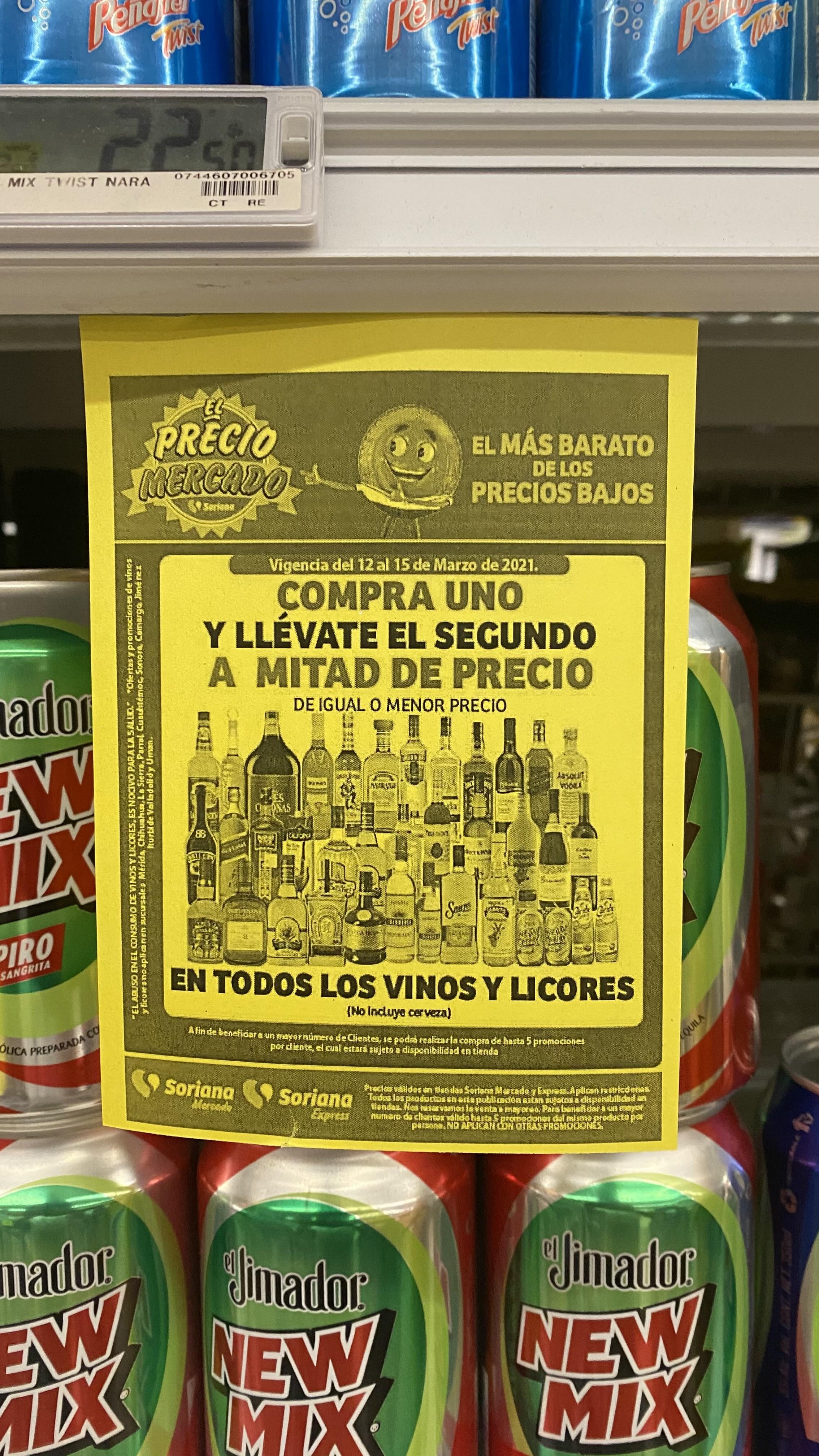 Soriana: Segunda botella de alcohol o vino a mitad de precio
