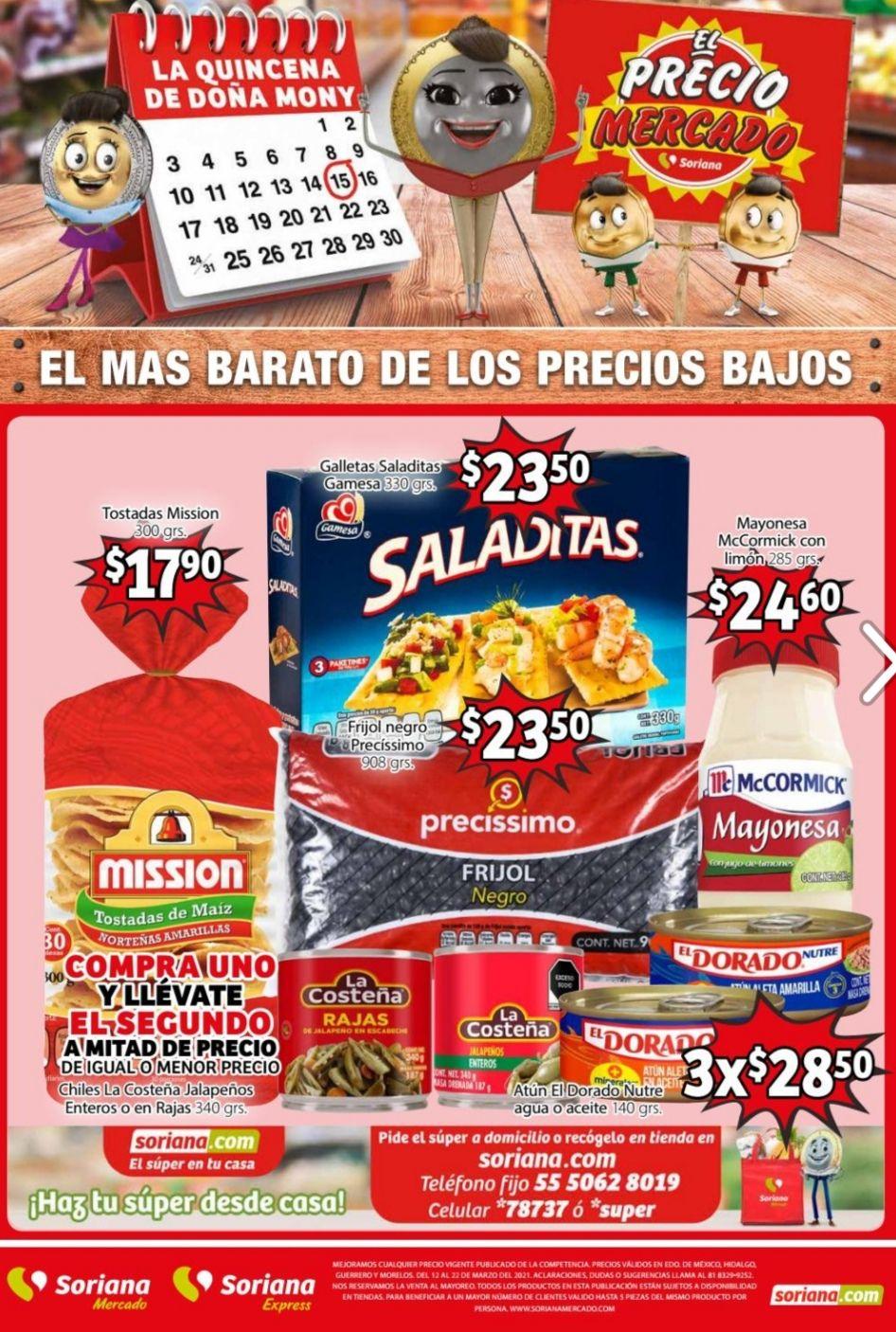 Soriana Mercado y Express: Folleto de Ofertas del Viernes 12 al Lunes 22 de Marzo