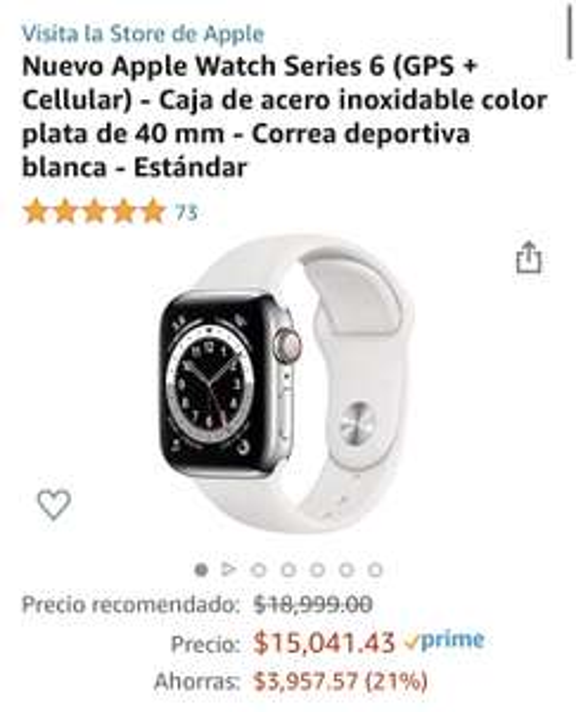 Amazon: Apple Watch Series 6 40mm Acero Inoxidable(GPS + Cellular)