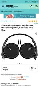 Amazon: Audifonos Sony MDR-ZX110/BCUC