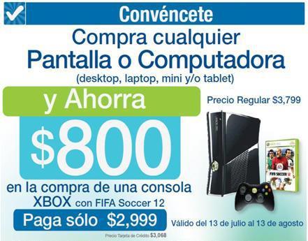 Sams Club: Xbox 360 con FIFA 12 a $2,999 comprando pantalla o computadora