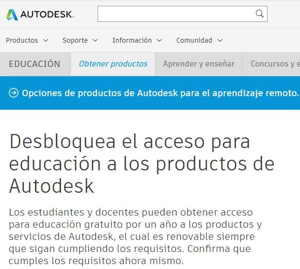 Autodesk MX: Acceso para educación gratuito por un año.