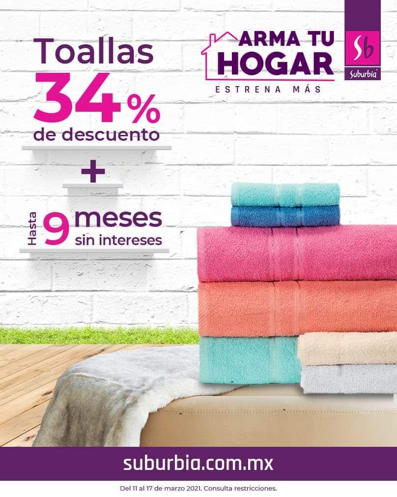 Suburbia: 34% de descuento en toallas + hasta 9 MSI