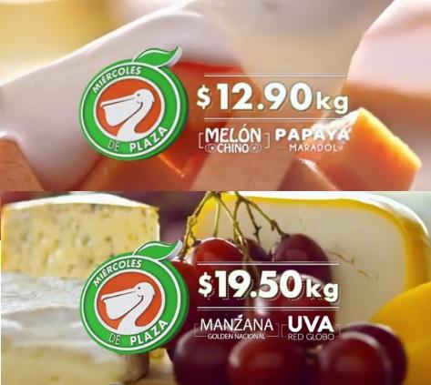 La Comer y Fresko: Miércoles de Plaza 31 Agosto: Melón Chino o Papaya Maradol $12.90 kg; Manzana Golden o Uva Red Globo $19.50 kg.