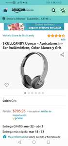 Amazon : SKULLCANDY Uproar - Auriculares in-Ear inalámbricos, Color Blanco y Gris