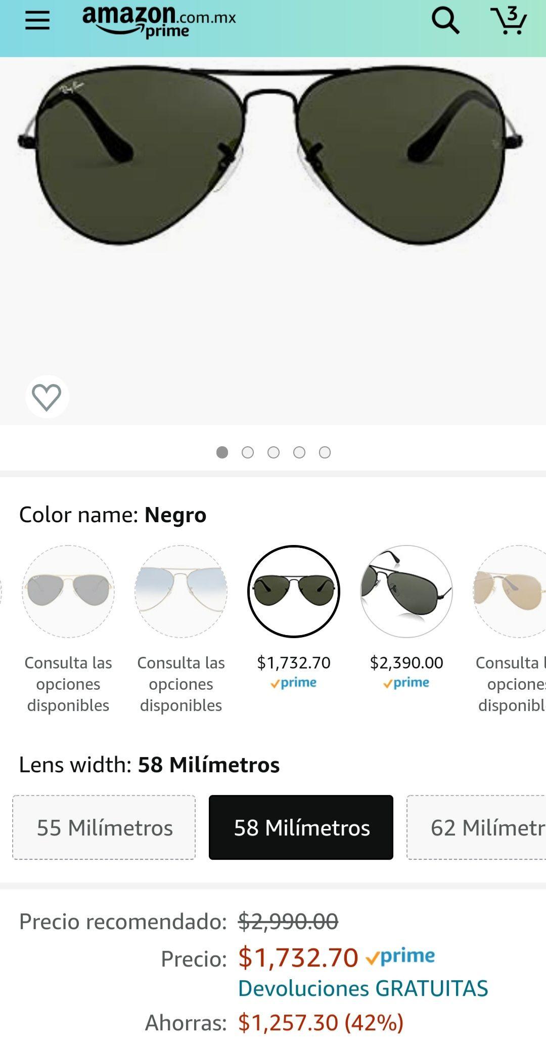 Amazon: Ray-Ban Aviator RB3025 Large Metal Aviator Sunglasses