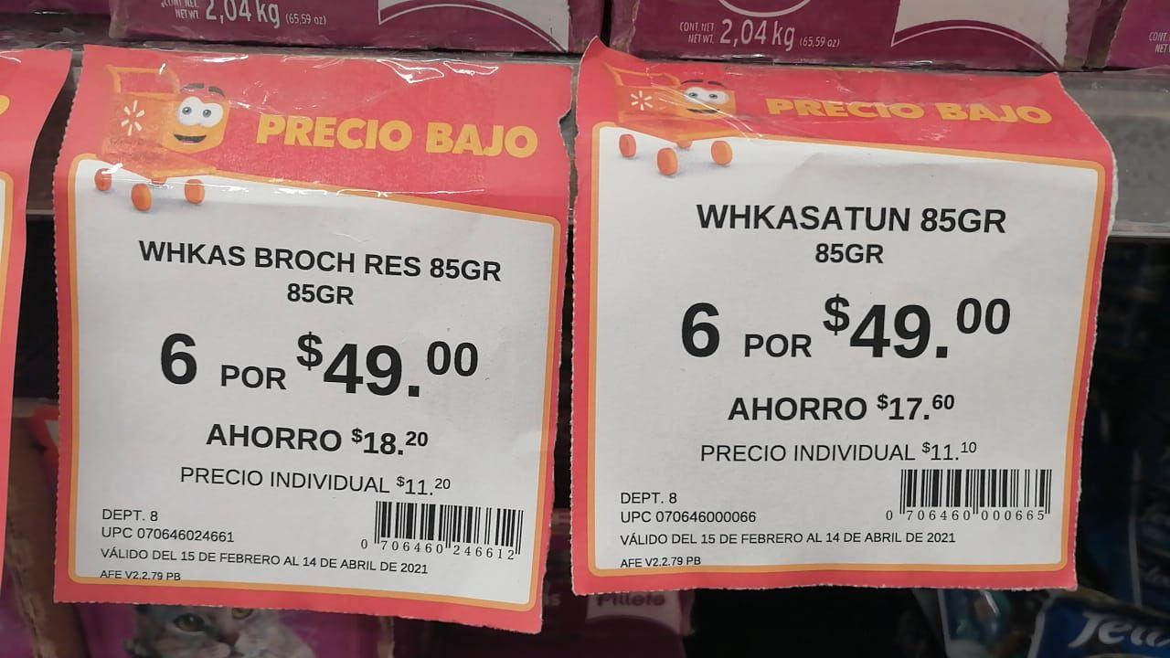 Walmart: Sobres Whiskas 6 x $49!