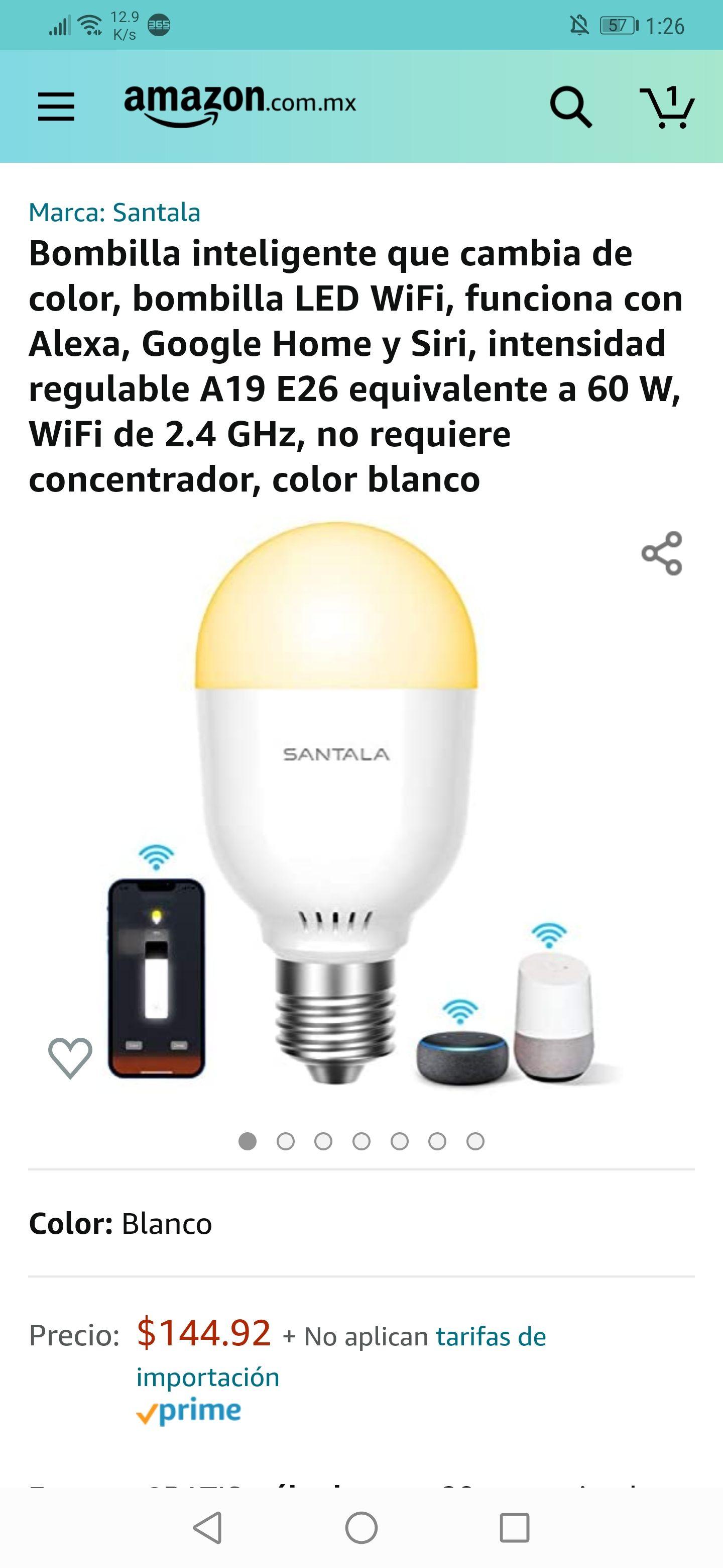 Amazon: foco inteligente compatible con Alexa, Google home y Siri e intensidad regulable (precio más bajo histórico)