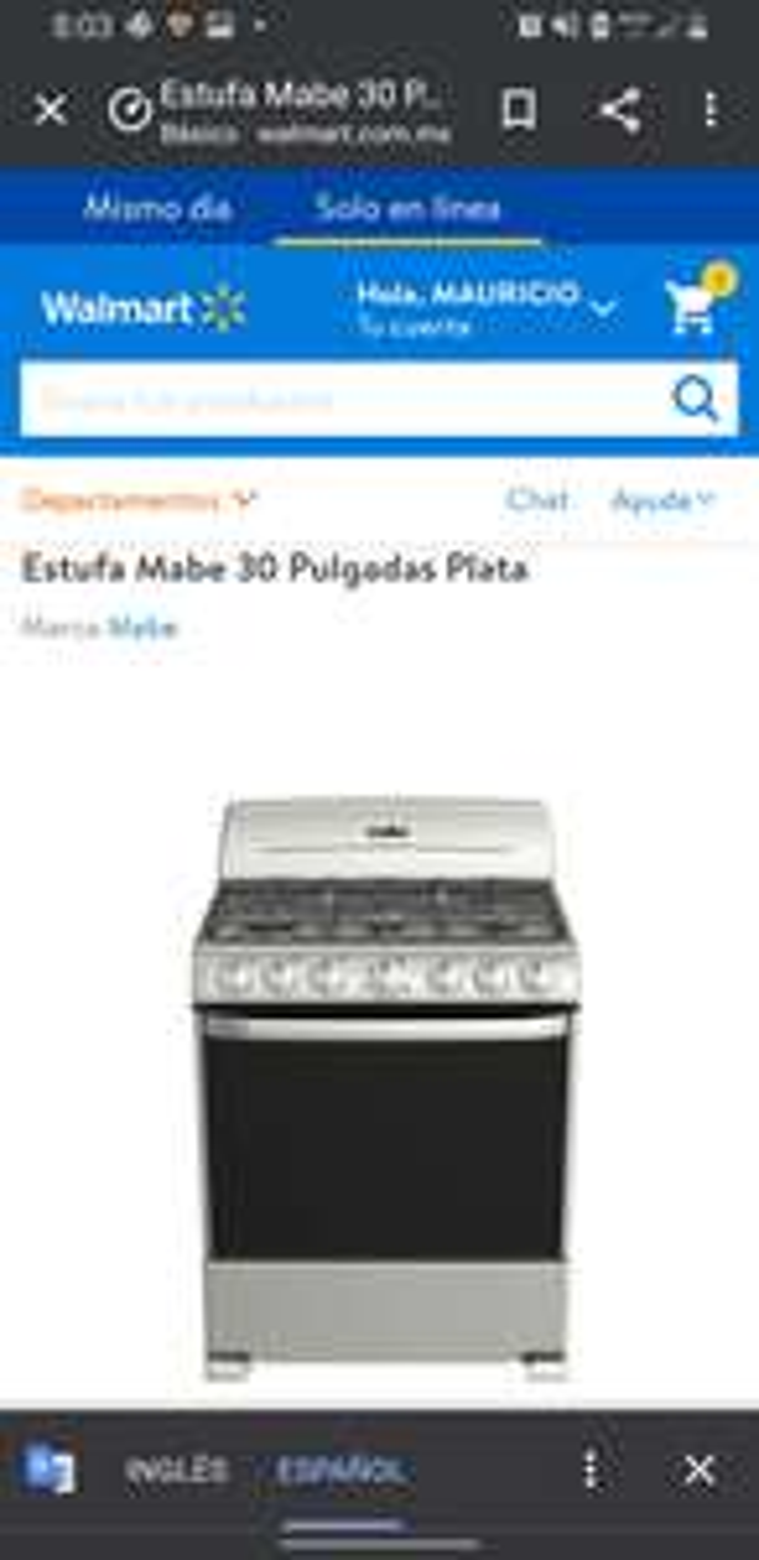 Walmart: Pagando con BBVA, Estufa Mabe acero inoxidable parrillas de fundición