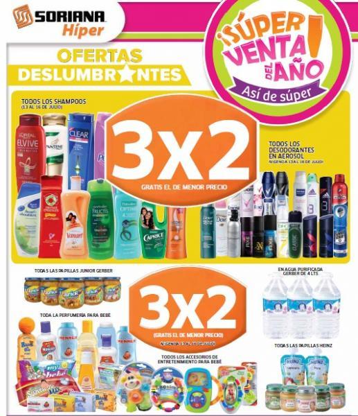 Folleto Soriana 13/07: 3x2 en pañales y artículos para bebés, shampoos, desodorantes y más