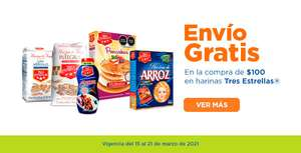 Chedraui: Envío gratis de tu súper en la compra de $100 en productos de harinas Tres Estrellas