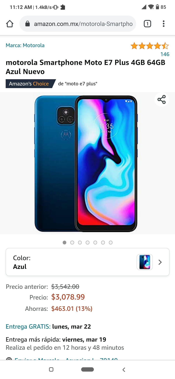Amazon: Moto E7 Plus, Versión 4/64, Desbloqueado - Color Azul