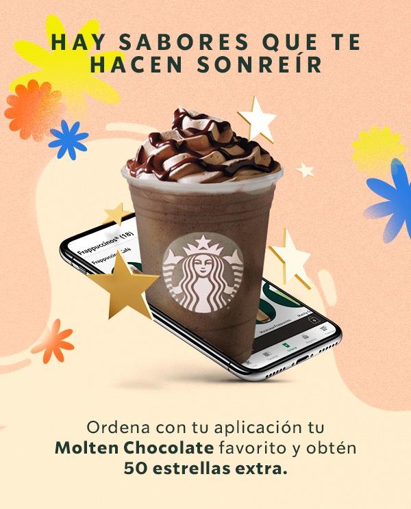 Starbucks: Ordena un Molten chocolate desde la app y obtén 50 estrellas extras