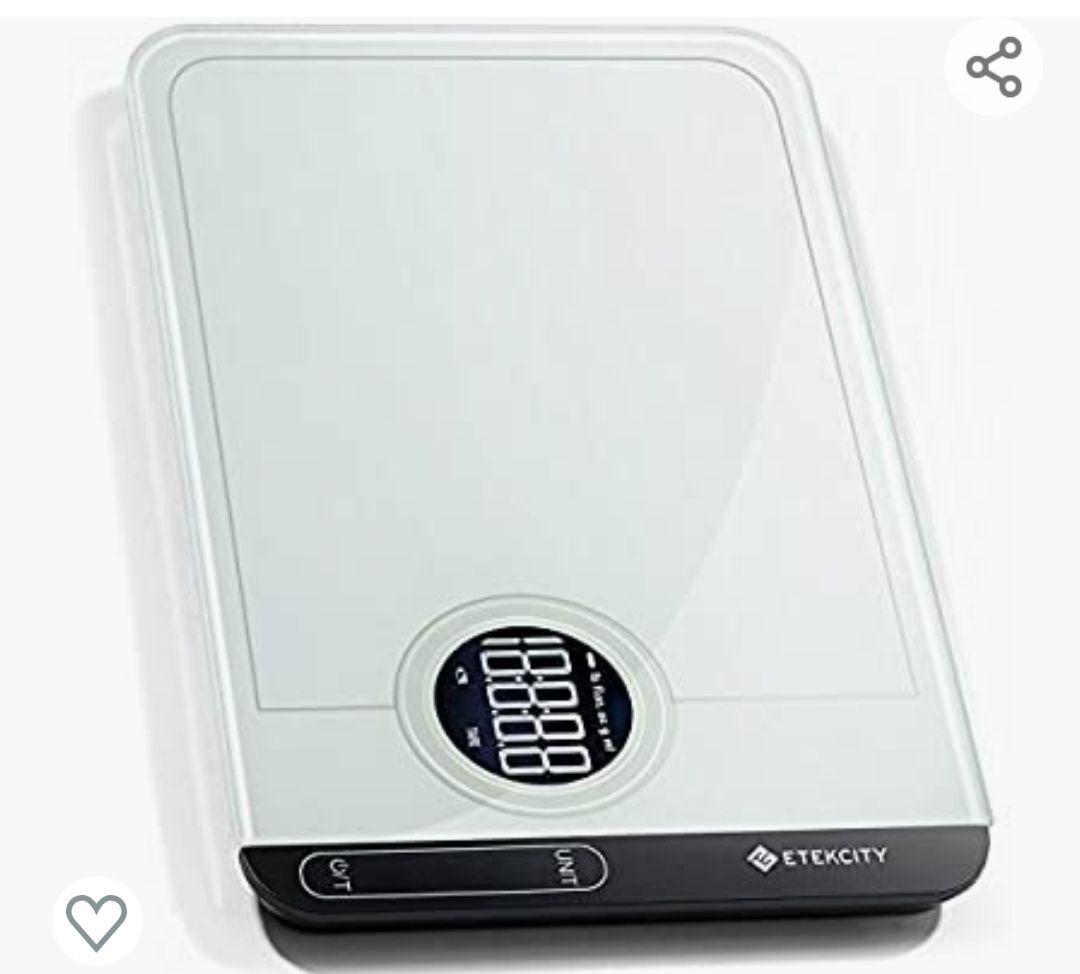Amazon: Etekcity Báscula Digital Touch Multifuncional Cristal Templado, capacidad 1g a 5kg