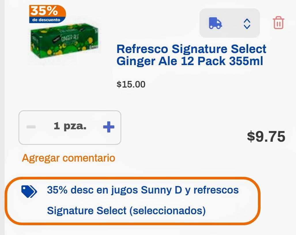 Chedraui en línea: 12 pack refrescos Signature Select 355 ml., diferentes sabores.