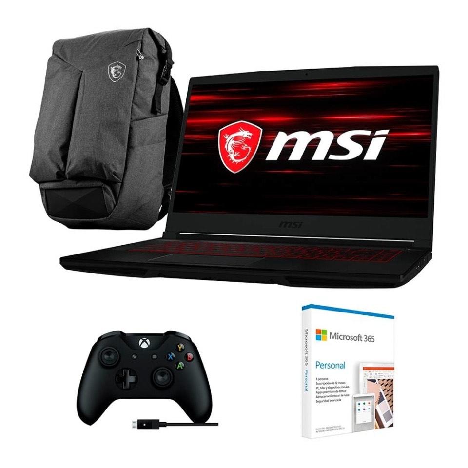 Walmart: Laptop MSI Core i5 9300H 8 GB RAM 512 SSD + Mochila + Office 365 + Control Xbox PC
