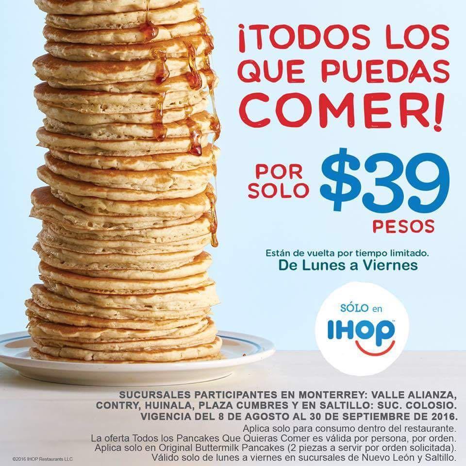Ihop: todos los hotcakes que puedas comer x $39 (Monterrey y Saltillo)