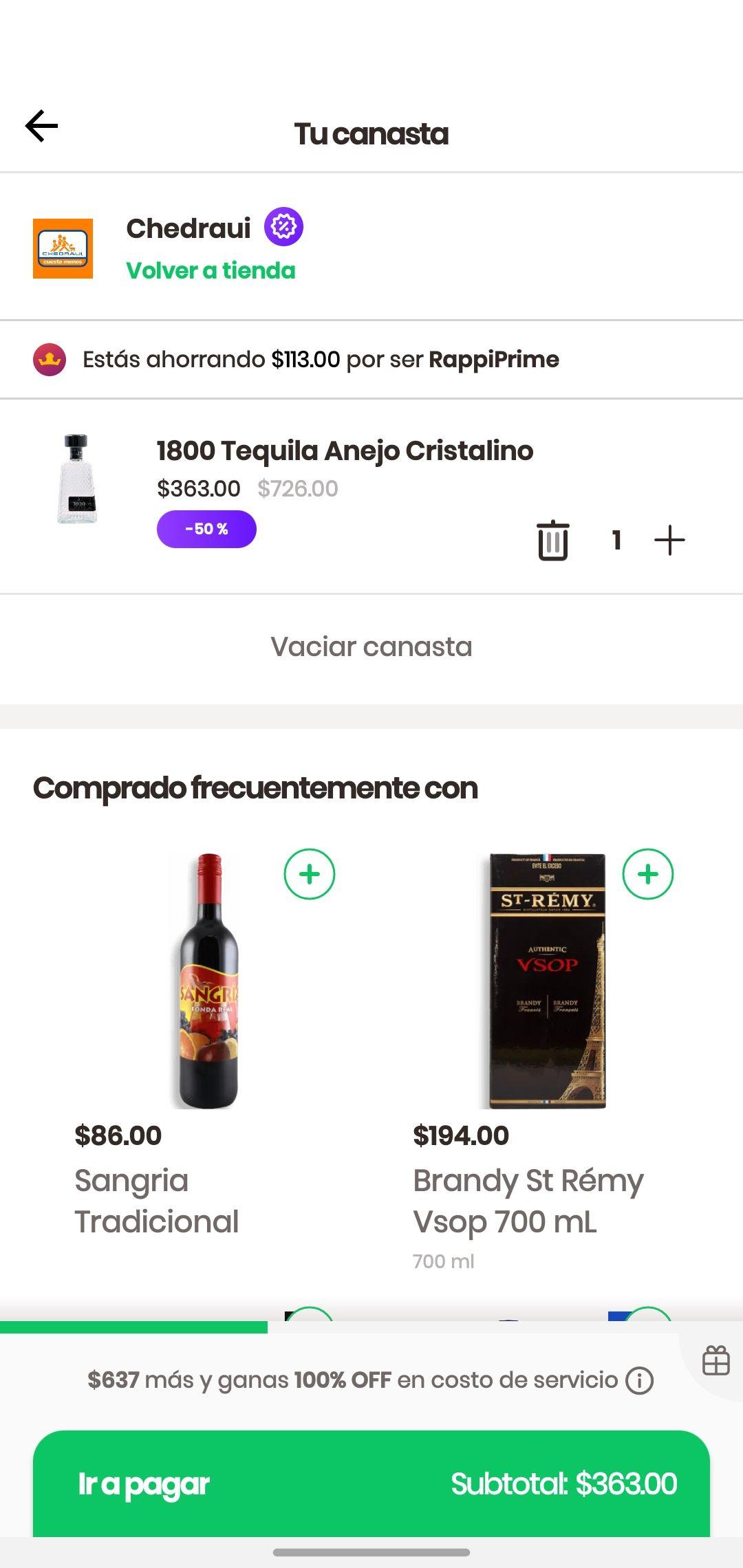 Rappi, Tequila 1800 cristalino, $363