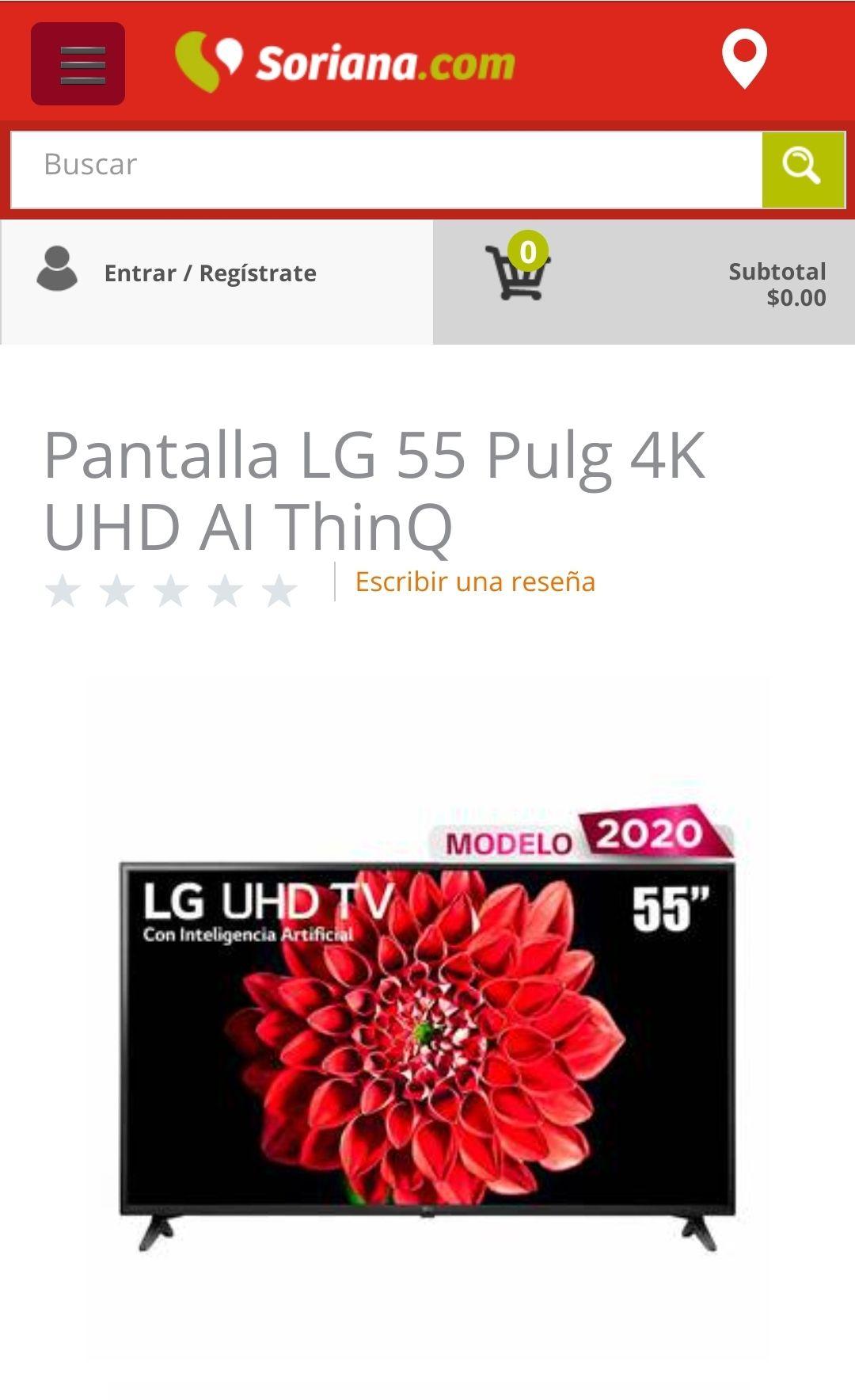 Soriana: LG 55 Pulg 4K UHD AI ThinQ