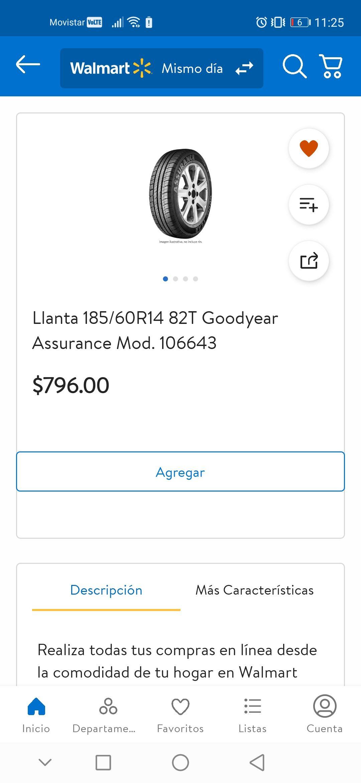 Walmart: Llanta Goodyear Assurance 185/60 R14
