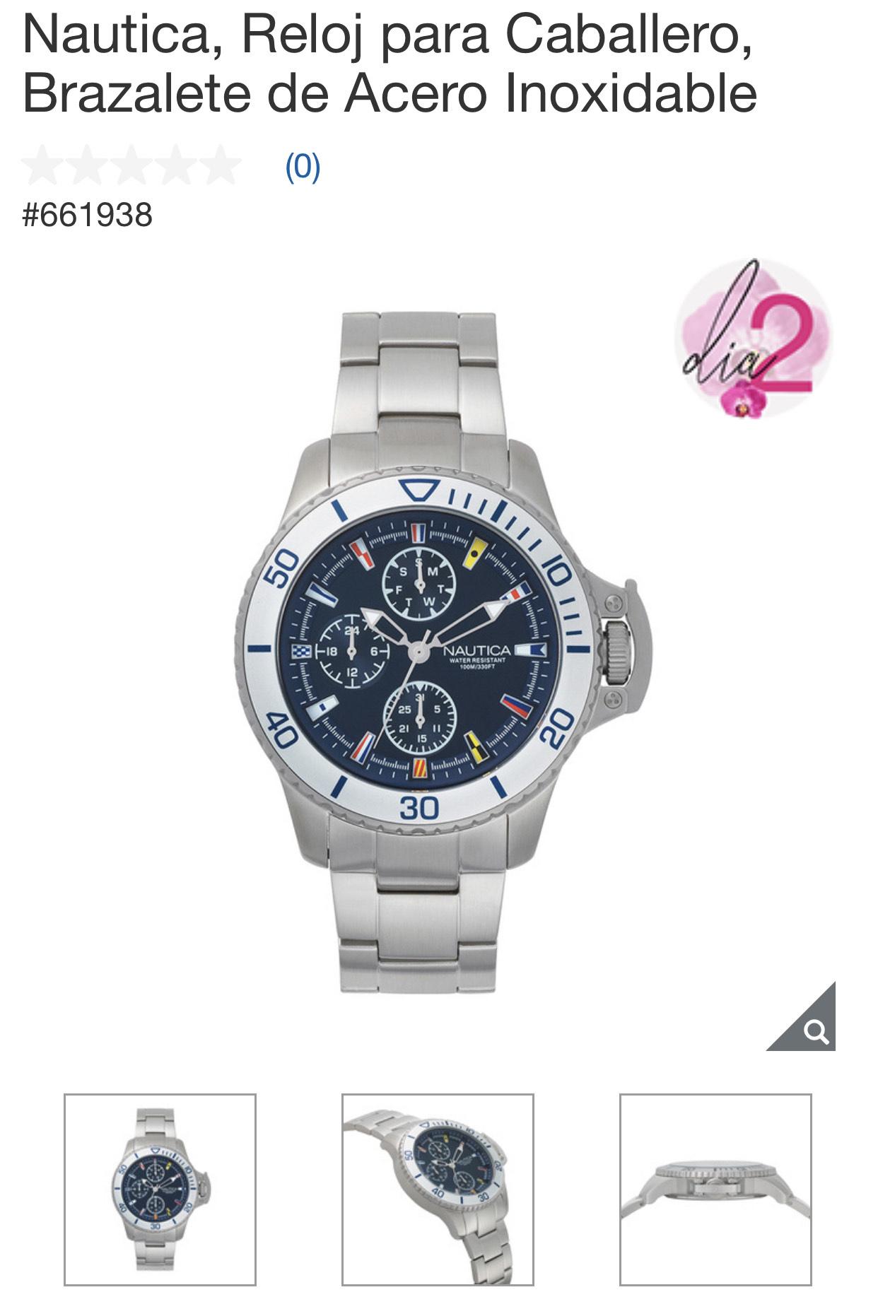 Costco: Reloj Nautica de Acero Inoxidable, para caballero, ahorras $500.00 (antes $2,999.00)