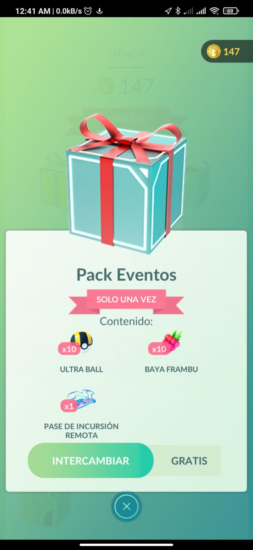 Pack de eventos gratis, Pokemon Go
