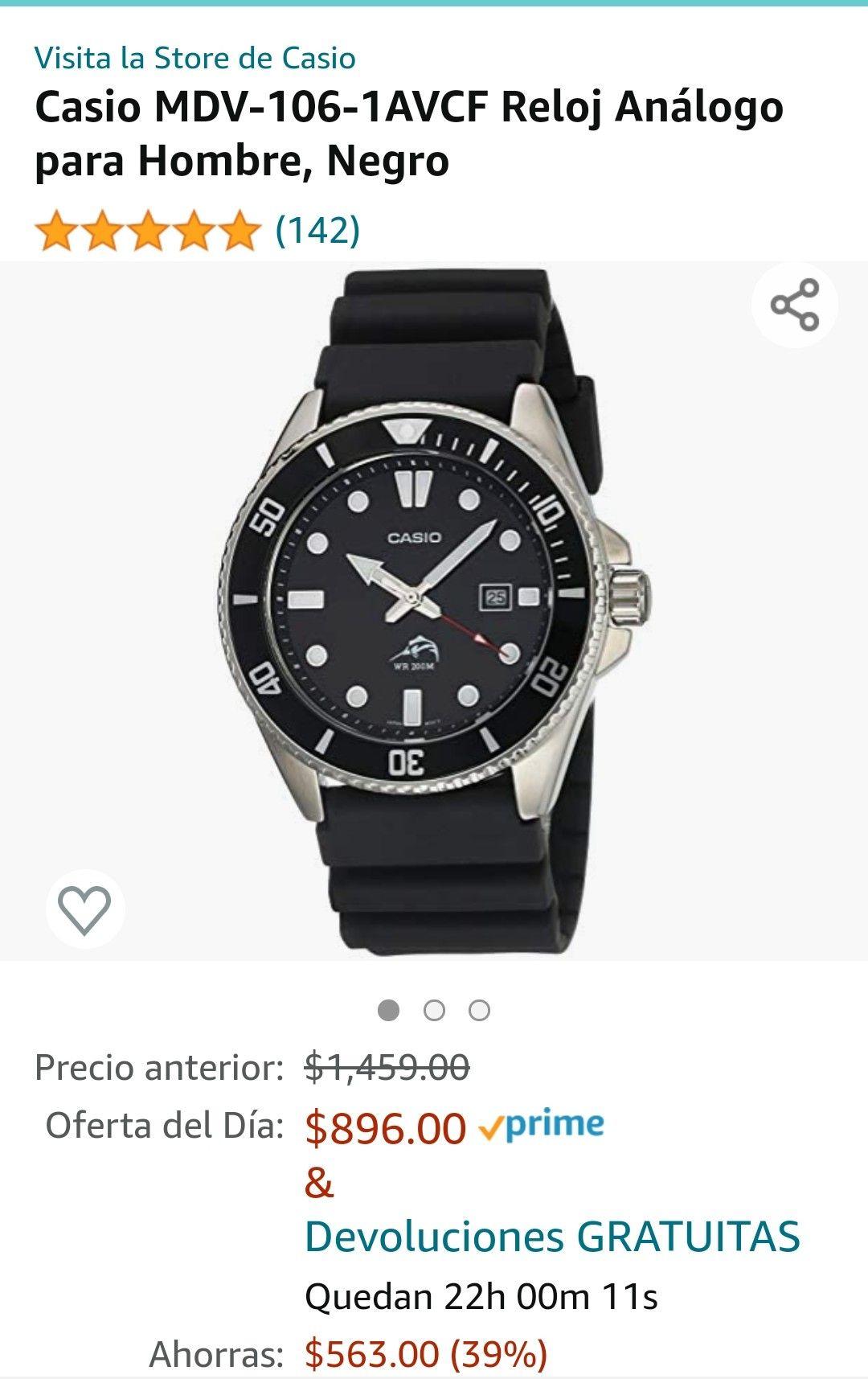 Amazon: Reloj Casio Marlin Negro