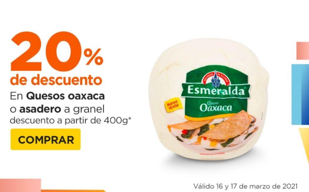Chedraui: 20% de descuento a partir de 400 g en quesos Oaxaca o asadero a granel
