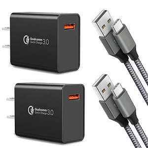 Amazon - 2 Quick Charge 3.0, cable USB tipo C y 2 cables tipo C