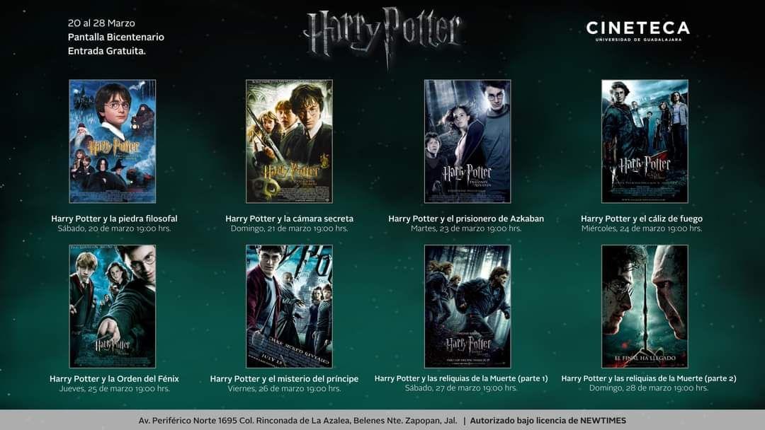 Cineteca FICG Guadalajara: Todas las películas de Harry Potter gratis del 20-28 de Marzo