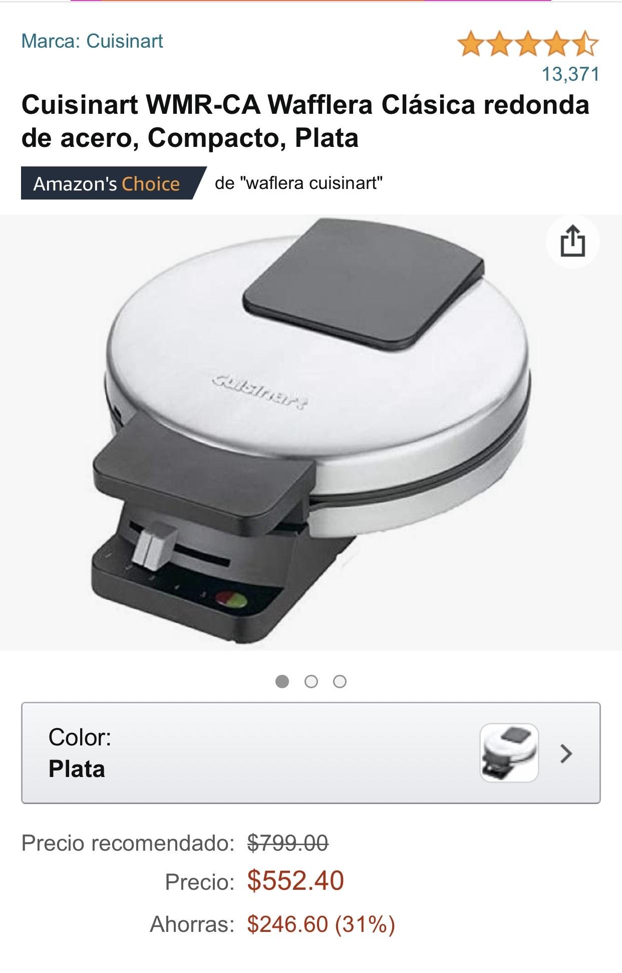 Amazon Wafflera cuisinart clásica de acero.