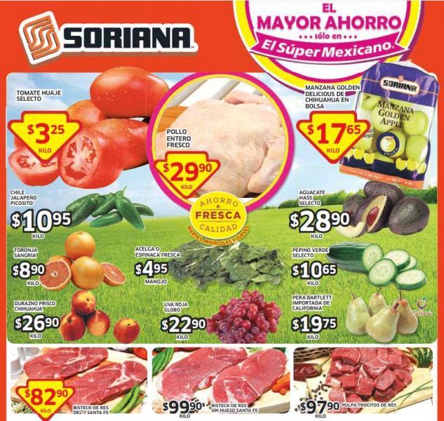 Ofertas de frutas y verduras en Soriana del 9 al 11 de septiembre