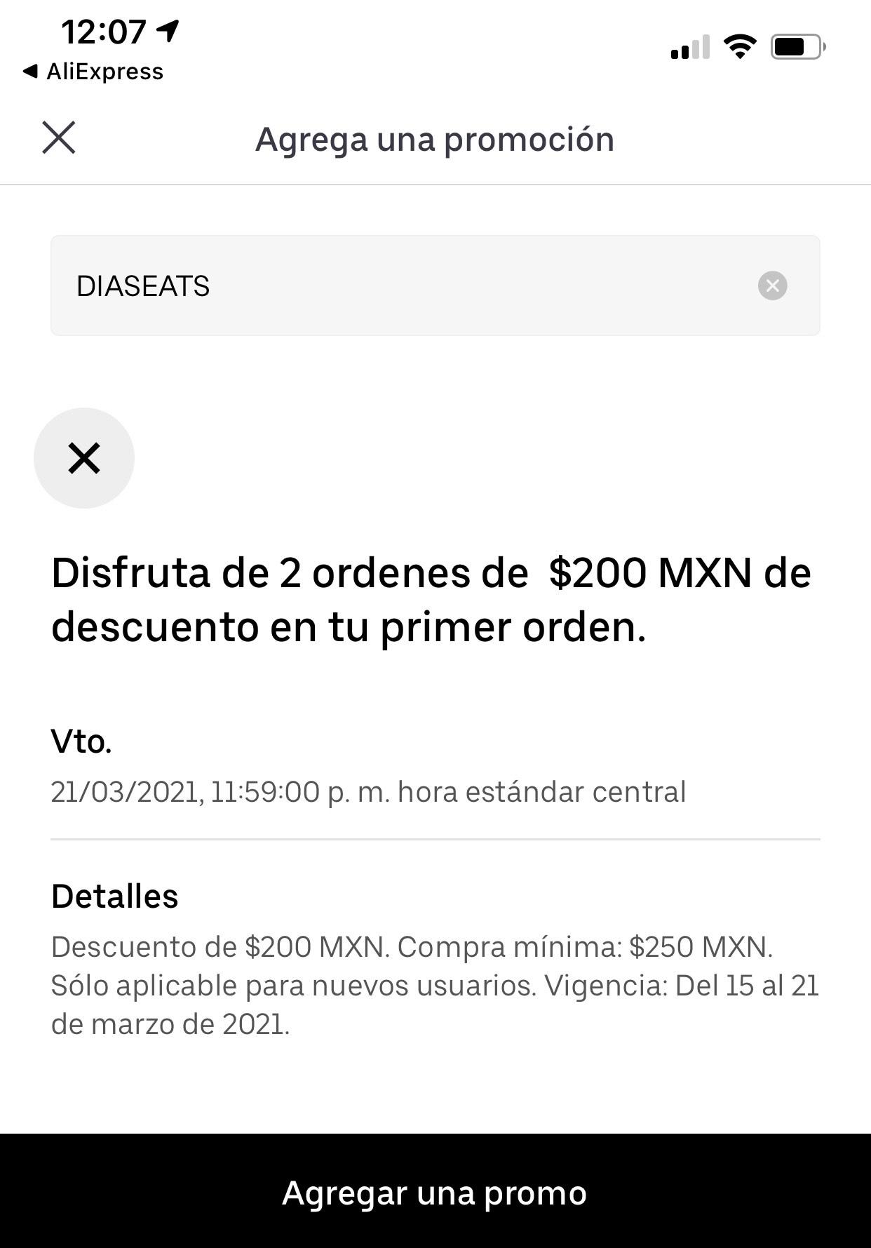 Uber eats: $200 de descuento para nuevos usuarios (seleccionados)